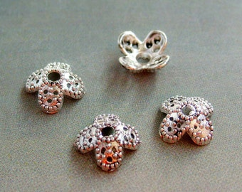 40Pcs Alloy Metal Flower Cap Beads Spacers Finding--40Pieces--8mm x 8mm  ja217