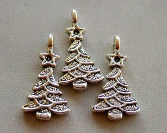 20Pcs Alloy Metal Pine Tree Pendant Beads Finding  ja224