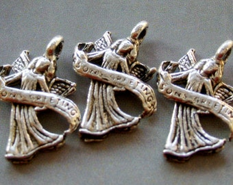 10Pcs Alloy Metal Winged-Angel Pendant Base Link Beads Finding---10Pieces 20mm x 13mm  ja227