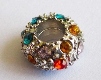 3Pcs Arylic Diamond Alloy Metal Big Hole Beads Finding  ja352