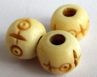 4Pcs/4Pieces Natural Ox Bone Carved Rondelle Beads Finding 10mm x 7mm  ja392