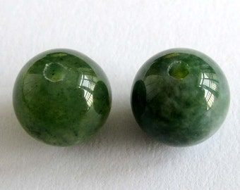 8mm 20Pcs/20Pieces Round Black Green Jade Gemstone Loose Beads Jewelry Finding For Making Handwork  ja397