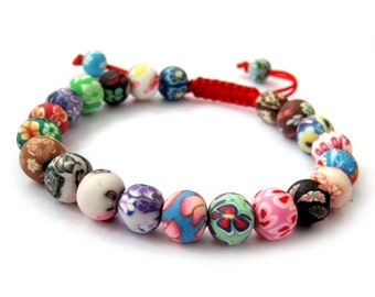 8mm Colorful Fimo Polymer Clay Beads Jewelry Adjustable Red String Bracelet  T2775