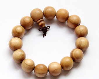 15mm Peach Wood Prayer Beads Tibetan Buddhist Wrist Mala Bracelet  T2770