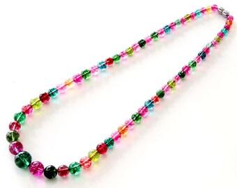 Imitated Crystal Quartz Bi-Xi Tourmaline Beads Necklace  T2797