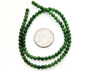 4mm One Full Strand Round Dark Green Stone Beads Jewelry Finding--90Pieces  ja467