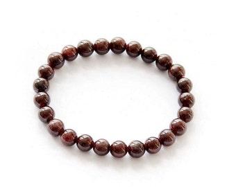 7mm Garnet Stone Beads Bracelet  T2788