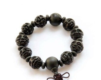 Black Sandalwood Tibet Buddhist 18 Arhats Luohan Prayer Beads Wrist Mala Bracelet  T2806