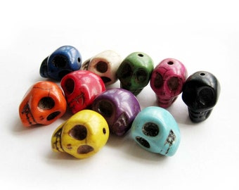 10Pcs Multi-Color Imitate Turquoise Carved Skull Head Beads Finding  ja489