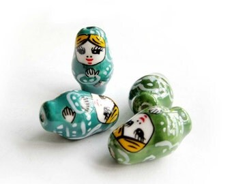 4Pcs Hand Crafted Porcelain Beauty Beads Finding  ja491