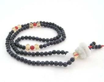 4mm 108 Blue Sandstone Beads Tibet Buddhist Prayer Mala  ZZ169
