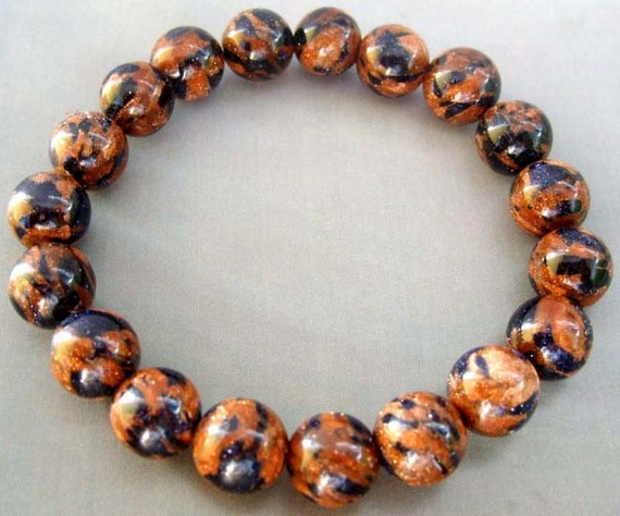 Handmade Goldstone Glidstone Sphere Beads Stretchy Charm Bracelet 10mm T0768