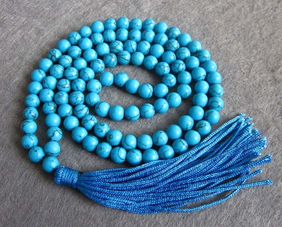 Tibetan Buddhist 108 Imitate Blue Turquoise Prayer Beads Japa Mala Necklace/Bracelet  ZZ124  6mm
