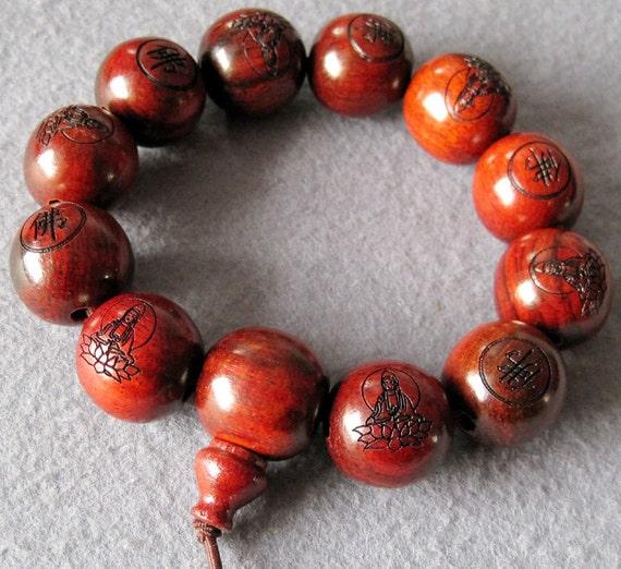20mm Giant Rosewood Kwan-Yin Lotus Beads Buddhist Prayer Bracelet Wrist Japa Mala  T2005