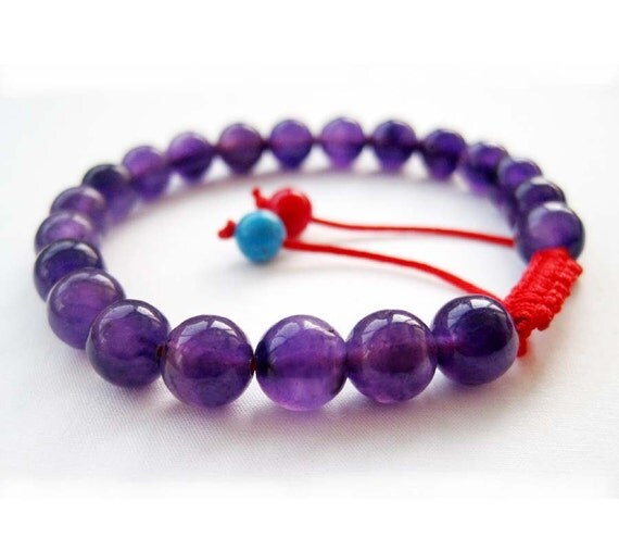 8mm 21Purple Stone Beads Adjustable Tibetan Buddhist Wrist Mala Bracelet For Meditation With Red String T2665