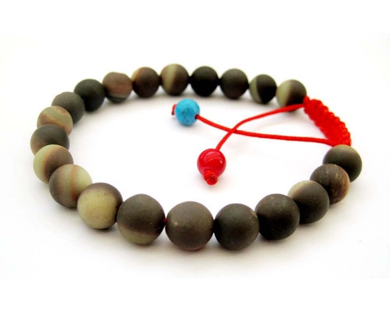 8mm 21 Zipao Jade Beads Adjustable Tibet Buddhist Wrist Mala Bracelet For Meditation With Red String  T2701