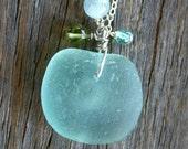 Sea Glass Necklace Aqua Peridot Aquamarine Apatite Sterling Silver