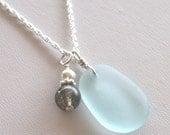 Sea Glass Jewelry Light Aqua Necklace Labradorite Sterling Silver