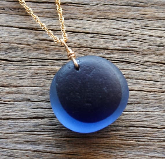 Sea Glass Jewelry Blue Purple End of Day Necklace 14K Gold Fill
