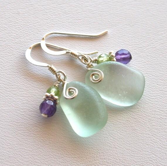 RESERVED for Mamanooch Sea Glass Earrings Sea Foam Green Amethyst Peridot Sterling Silver