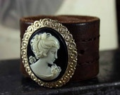Victorian Goth Vampire Cameo Cuff Leather Bracelet - Recycled Leather Belt Bracelet