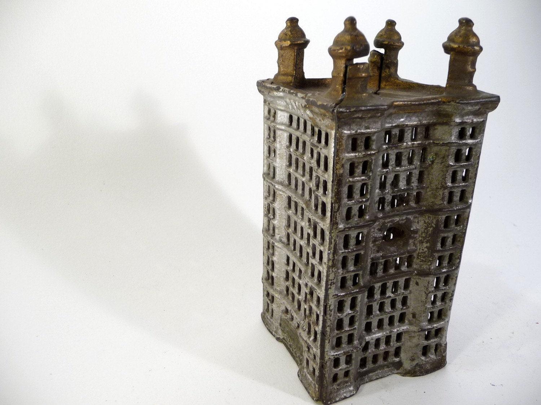 Antique Cast Iron Skyscraper Bank
