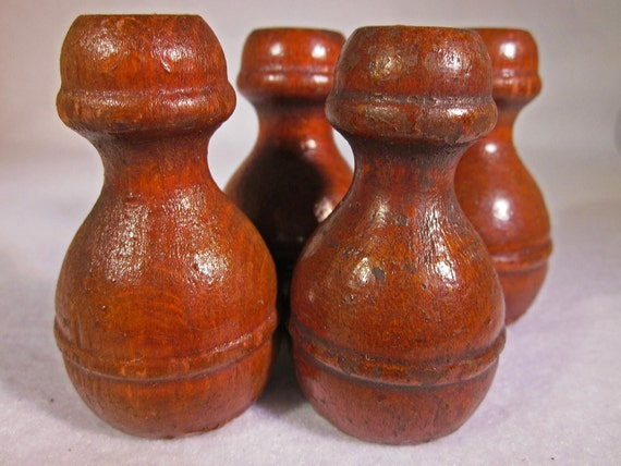 Wooden Finials, Vintage, Four Matching, Toppers, Furniture Restoration, Antique, Replacement Parts, Crafts, Fixture