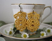 Vintage Inspired Mustard Yellow Chandelier Lace Earrings
