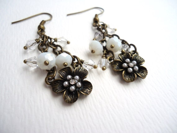 Bronze Magnolia Flower Pendant Earrings With White & Clear Crystal Dangles - Magnolias