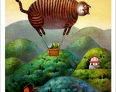 A4 Cat Print - Cat balloon to your house