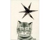 Cat ACEO mixed media Original - Kagayakuhoshi