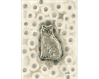 Cat ACEO drawing and collage Original - Circles 8