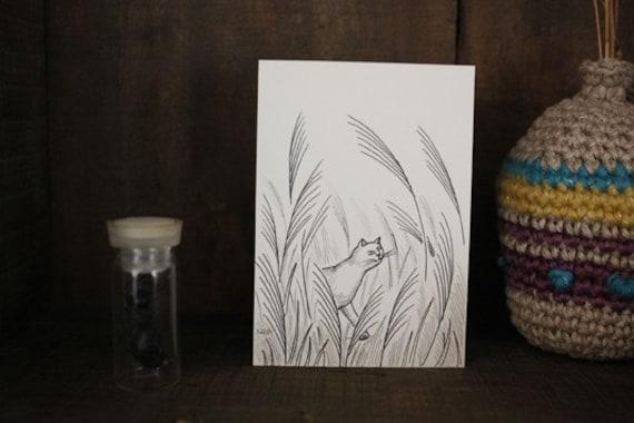 Original ACEO card - Japanese pampas grass