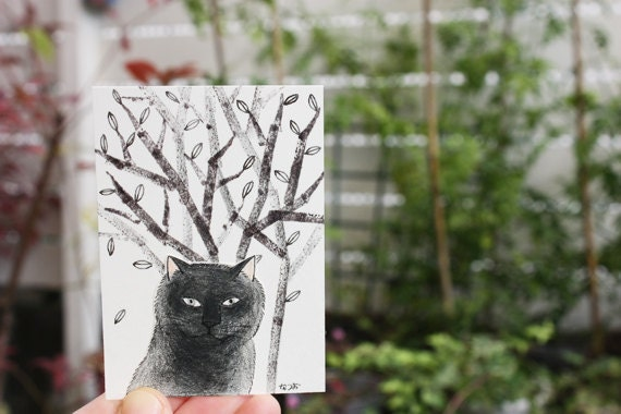 Cat ACEO mixed media Original - Black cat and trees