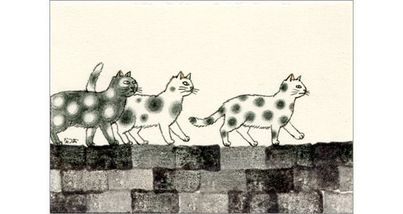 Cat ACEO mixed media Original - Mizutamas