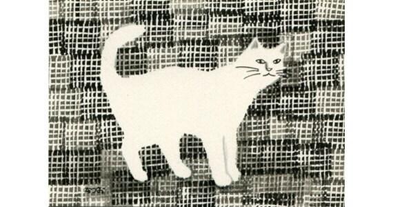 Cat ACEO mixed media Original - Nunonoyounahaikeitoneko