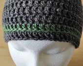 Hat Beanie Crochet Boys Gray Grey Green Stripe