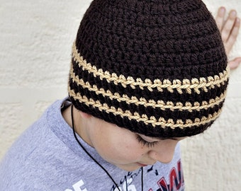 Boy's Crochet Beanie Hat Striped