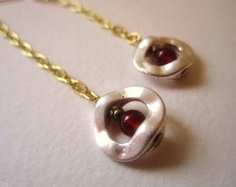 Long earrings, delicate, carnelian, silver circle, dangle earrings by nicobel