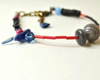Mixed media bracelet, stacking bracelet, vintage bead bracelet, repurposed bead bracelet, lapis lazuli, wood, miyuki by nicobel