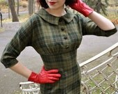Green plaid 50's style wool dress, Marcia -dress, size US 4