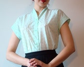 Mint green 50s style kimono shirt, broderie anglaise, size US 10