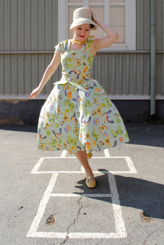 50s style swing dress in mint green butterfly cotton, made to order, all sizes