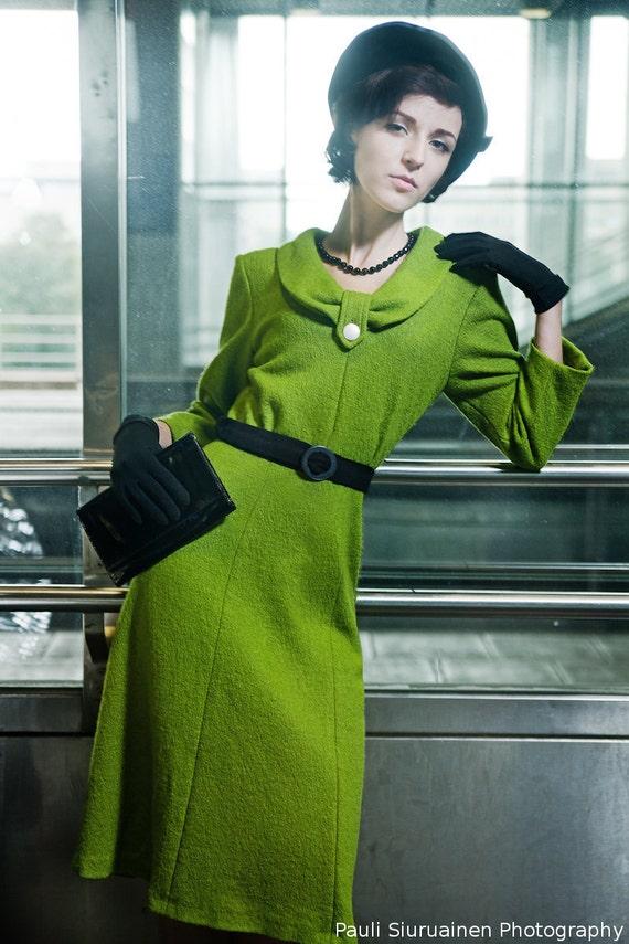 SALE: Olive green 50's style wool dress, Margot -dress, size US 4-6