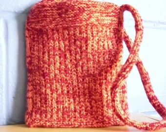 Hand Knitted Bag, Shoulder Bag, Pink and Red Handbag, OOAK