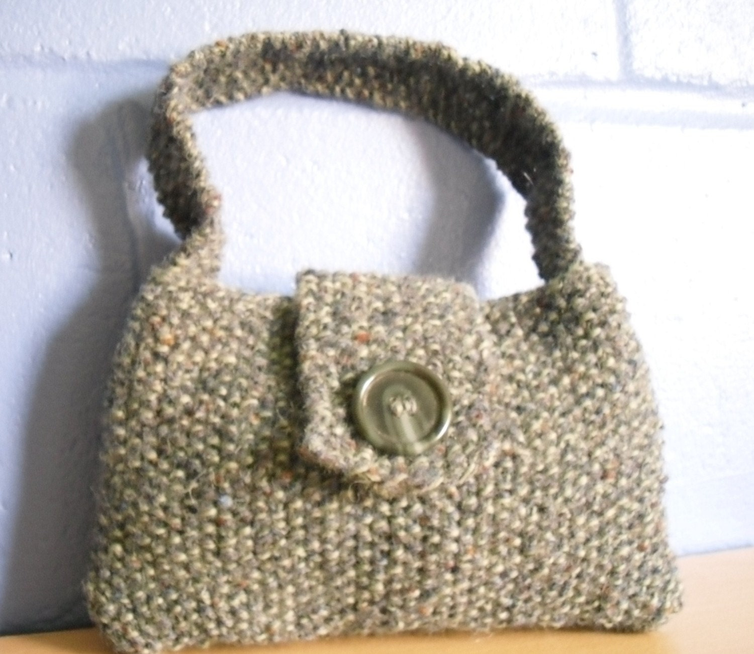 Knitting Pattern Evening Bag : Hand Knitted Bag Green Evening Bag Recycled Handbag by Kezylou