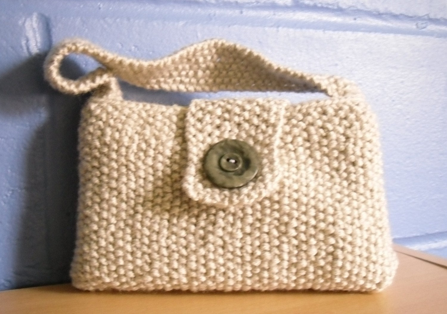 Knitting Pattern Evening Bag : Hand Knitted Bag Small Evening Bag Cream Moss Stitch Bag