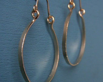"14k Gold Fill Hoops 1.5"" Gold Hammered Hinged Hoop Earrings Wire Jewelry Tribal Jewelry Horseshoe Hoops Hoops with Wires"