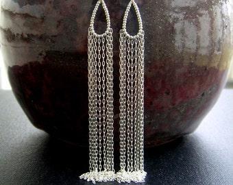 Long Silver Chain Earrings Beaded Teardrop Hoops Waterfall Earrings Extra Long Sterling Silver Fringe Dangles Silver Statement