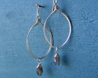 Silver Oval Hoops Labradorite Earrings Long Gemstone Dangles Sterling Silver Teardrop Earrings Wire Wrapped Hoops Wire Jewelry
